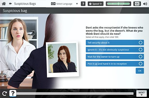Suspicious Packages online course: Bags