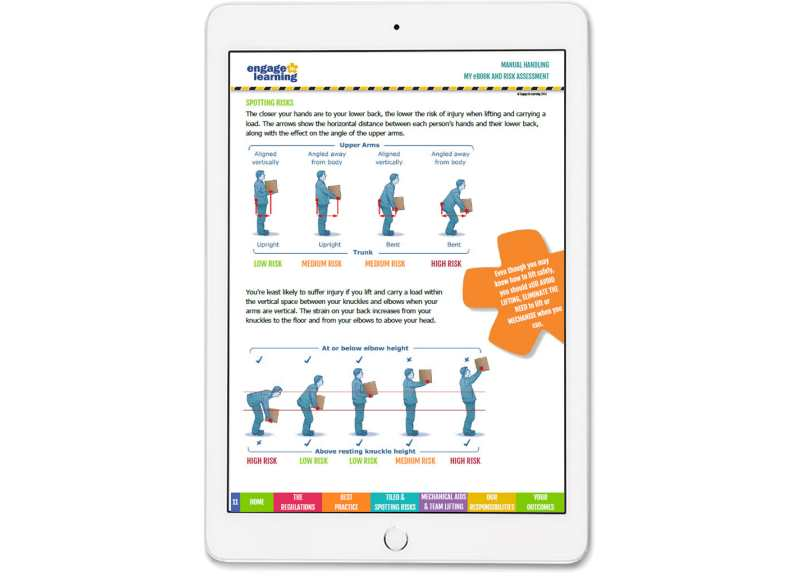 Learners can use the interactive eBook to help them spot lifting risks and take steps to reduce those risks